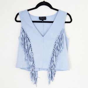 Romeo + Juliet Couture • Blue suede fringe top